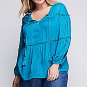 Lane Bryant Embroidered Beaded Artist Blouse